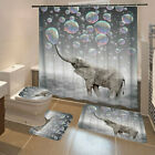 3D Printing Bubbles Elephant Shower Curtain Toilet Cover Mat Waterproof   #