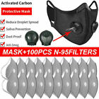 Reusable Double Breathing Valve Face Mask W/activated Washable Carbon Filters Us