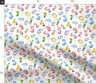 School Supplies Kids Number Charcters Face Fabric Printed by Spoonflower BTY