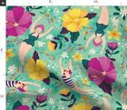Underwater Swim Hibiscus Bubbles Bathing Suit Fabric Printed by Spoonflower BTY