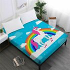 1 Pcs Bed Sheet Cute Unicorn Print Fitted Sheets Ladies Sweet Cartoon Sheets Pol
