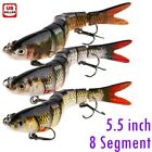 Fishing Lures 8-Segments Fish Bass Minnow Swimbait Tackle Hook Lure Crank Bait