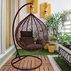 Hanging Egg Chair Rattan Outdoor Indoor Patio Garden Swing Chairs With Cushion