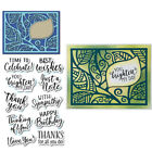 Leaf Frame and Phrase Clear Stamps with Cutting Die Diy Scrapbooking Decor Cards