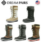 DREAM PAIRS Women's Lace Up Winter Snow Boots Faux Fur Lined Mid Calf Snow Boots