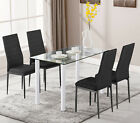 Dining Glass Table and Chairs 4 6 Seater with Room Kitchen Furniture Dining Set