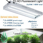Hydroponics T5 2x24W Fluorescent Grow Light Mirror Shade Optional Spectrum Lamps