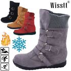 US Womens Snow Booties Warm Winter Buckle Flat Suede Fur Lined Shoes Ankle Boots