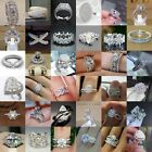 Gorgeous Women 925 Silver Rings White Sapphire Wedding Jewelry Ring Size 6-10