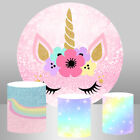 Round Circle Backdrop Cartoon Flower Unicorn Background Party Table Cover Banner