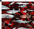 Sharks Red Black Synergy0006 Palette Posh Fabric Printed by Spoonflower BTY