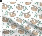 Sleepy Sloths Animal Animals Forest Jungle Fabric Printed by Spoonflower BTY