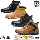 Men's Safety Shoes Steel Toe Work Boots Indestructible Waterproof Leather Boots