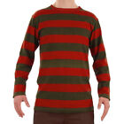 Long Sleeve Nightmare Freddy Horror Olive Red Striped Shirt Costume Men's S-XL