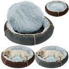 Washable Round Dog Bed Pet Cushion Sofa Nest Mat Donut Pad Suede Warm S M L XL