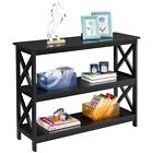 Wood X Design Console Table Entryway Table w/ 3 Storage Shelves for Living Room