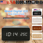 Black Wooden Wood Digital LED Desk Alarm Clock Thermometer Qi Wireless Charger