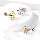 16G CZ Flower Cartliage Tragus Bar Ear Piercing Stud Barbell Body Jewellery