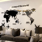 Acrylic 3d World Map Crystal Wall Sticker Art Home Office Room Decor Removable