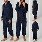 Mens Long Sleeve Fur Fleece Warm Bodysuits Nightwear Pajamas Overalls Sleep Pant