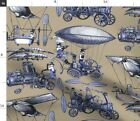 Flying Blue Steampunk Machine Airplane Hot Air Spoonflower Fabric by the Yard