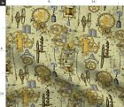 Steampunk Gears Clock Clockwork Cog Spoonflower Fabric by the Yard