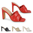 Womens Padded Square Peep Toe Block Heel Sandals Ladies Slip On Mule Shoes Size