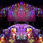 96LED Fairy Icicle Curtain Lights Party Indoor Outdoor Xmas Home Lamp Multicolor