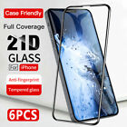 6 Pack For iPhone 12 Mini/Pro Max Full Coverage Tempered Glass Screen Protector