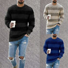 Men's Striped Knitted Sweater Jumper Tops Winter Long Sleeve Pullover Blouse