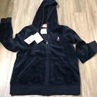 juicy Couture Girl's Blue Velour Hooded Zip up Tag Price $88