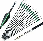 """12x Archery 31"""" Carbon Arrows SP500 Practice Hunting Removable Tips CA Stock"""