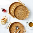 Round Rattan Bread Basket Woven Tea Tray With Handles Dinner Serving Home Decor.