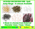 10/20/50/100/200/500 Split Jump Ring Rings 4mm 7mm 10mm Gold / Silver Open New