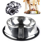 Large Stainless Steel Dog Bowl Non Slip Small Pet Food Water Feeding Bowls Dish
