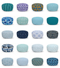 Ambesonne Blue Ottoman Pouf Decor Soft Foot Rest & Removable Cover