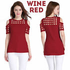 Women's Casual Cold Shoulder Cut Out Shirt Geometrical Design Top