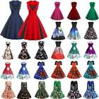 Womens 1950s Rockabilly Festival Cocktail Party Skater Swing Dresses Plus Size