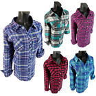 Flannel Plaid Shirt Womens Soft Pockets Pin Up Sleeves Split Collar Plus Size