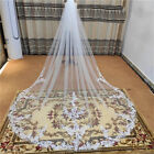 1T Bridal Veils Cathedral Long White Ivory Lace Wedding Veil with Comb for Bride