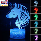 3D Unicorn Head Model Lamp Touch/Remote 7 Colors LED Night Light Table Lamp Gift