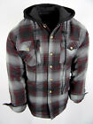 Mens Plaid Flannel Hoodie Fully Quilted Lined Jacket Heavy Weight 4 Pocket