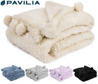 Soft Fuzzy Cozy Pom Pom Throw Blanket with Fluffy Sherpa Fleece for Sofa Couch