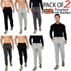 2 PACK Mens Slim Fit Tracksuit Bottoms Skinny Joggers Sweat Pants Gym...