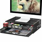 Monitor Stand Riser with Drawer - Metal Mesh Desk Organizer  Assorted Colors