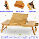 Bamboo Computer Desk Laptop Stand Table Tray Adjustable Folding Notebook Bed