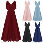 Women Evening Ball Prom Gown Dress Bridesmaid Party Cocktail Deep V Neck Dress