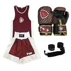 Junior Boxing Uniform Set Top Bottom Pair of boxing Gloves Wraps 1010 Maroon