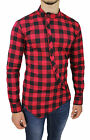 Men's Shirts Check Slim Fit Casual Black Red Cotton with Button Cross