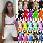 Womens Fitness Tracksuit Set Sports Gym Running T Shirt Top + Cycling Shorts